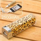 2500mAh leopard Power Charger Battery Bank for iPhone 4/4S, Various Cell Phones and Digital Devices