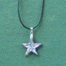 Murano style glass blue multi color star pendant necklace