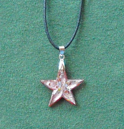 Murano style glass red multi color star pendant necklace