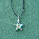 Murano style glass aqua multi color star pendant necklace