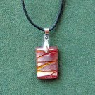 Dichroic Murano style Glass rectangle red and silver pendants necklace