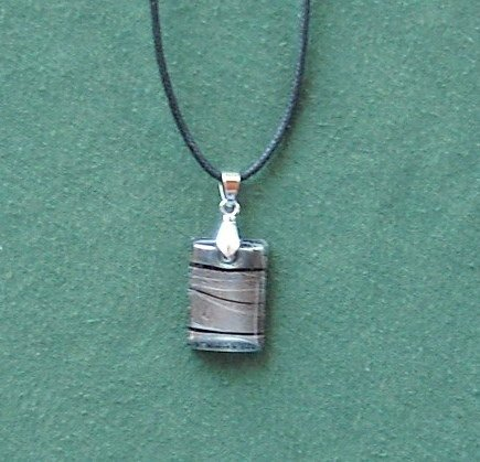 Dichroic Glass  Murano style rectangle cranberry black and silver pendants necklace