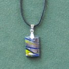 Dichroic Glass Murano Style Rectangle Yellow Blue Silver Pendants Necklace