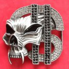 Dollar Sign with Skull Rhinestone metal belt buckle