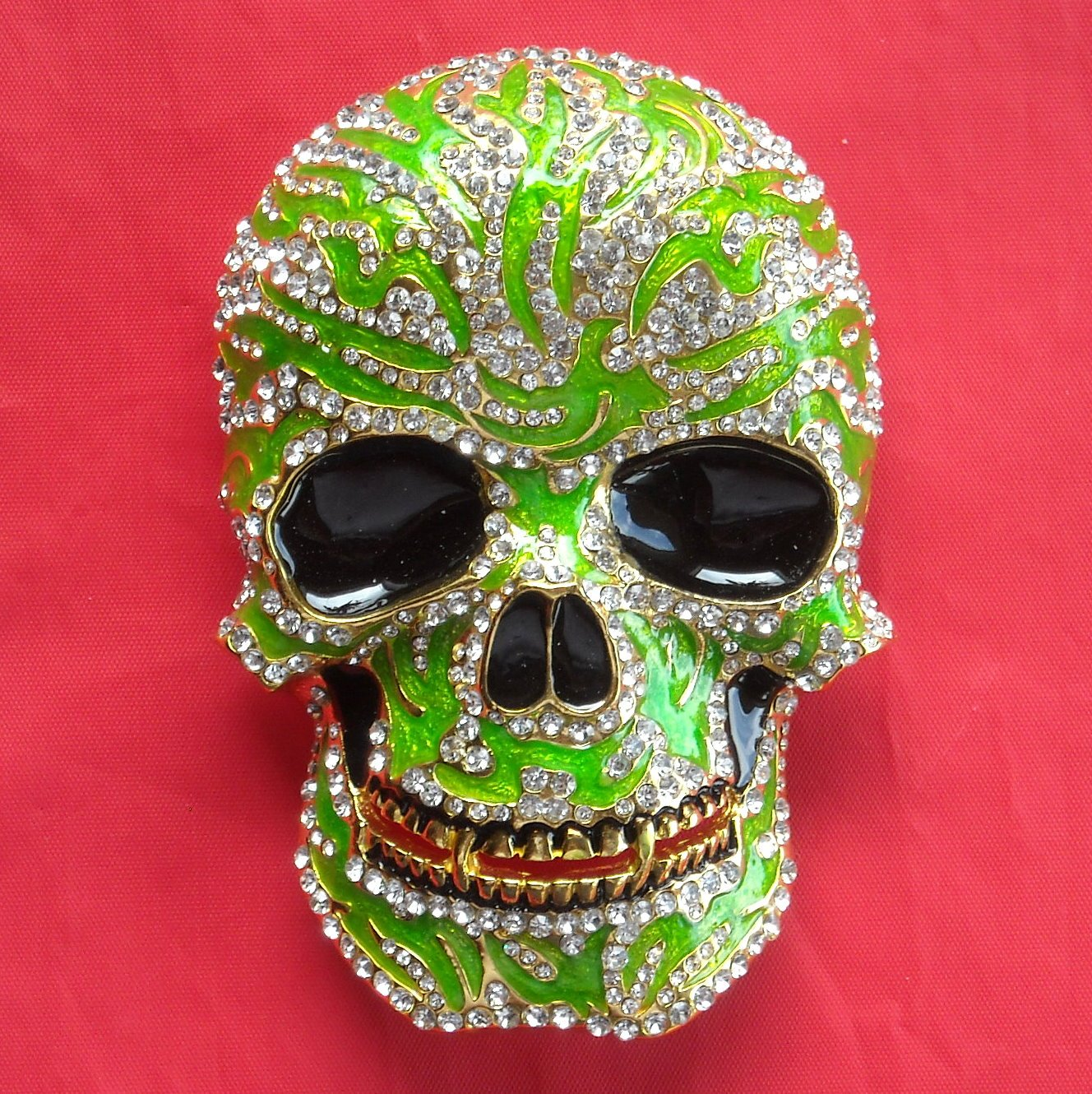 Lime Green Skull with Rhinestone metal belt buckle
