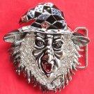 Woodoo Silver color 3D Head with Rhinestone metal belt buckle