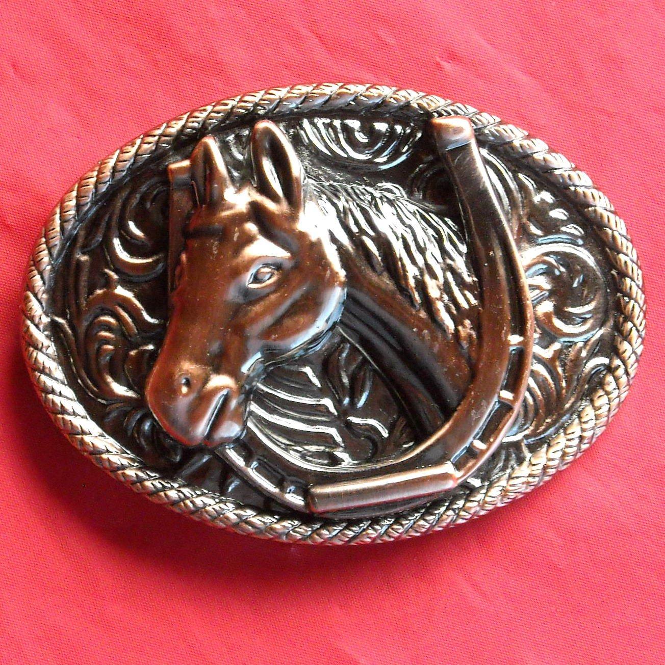 Bronze color Horse and Shoe metal belt buckle