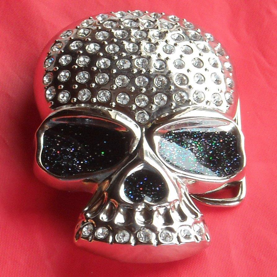 Biker Skull Silver color Sunglasses with Rhinestone metal belt buckle