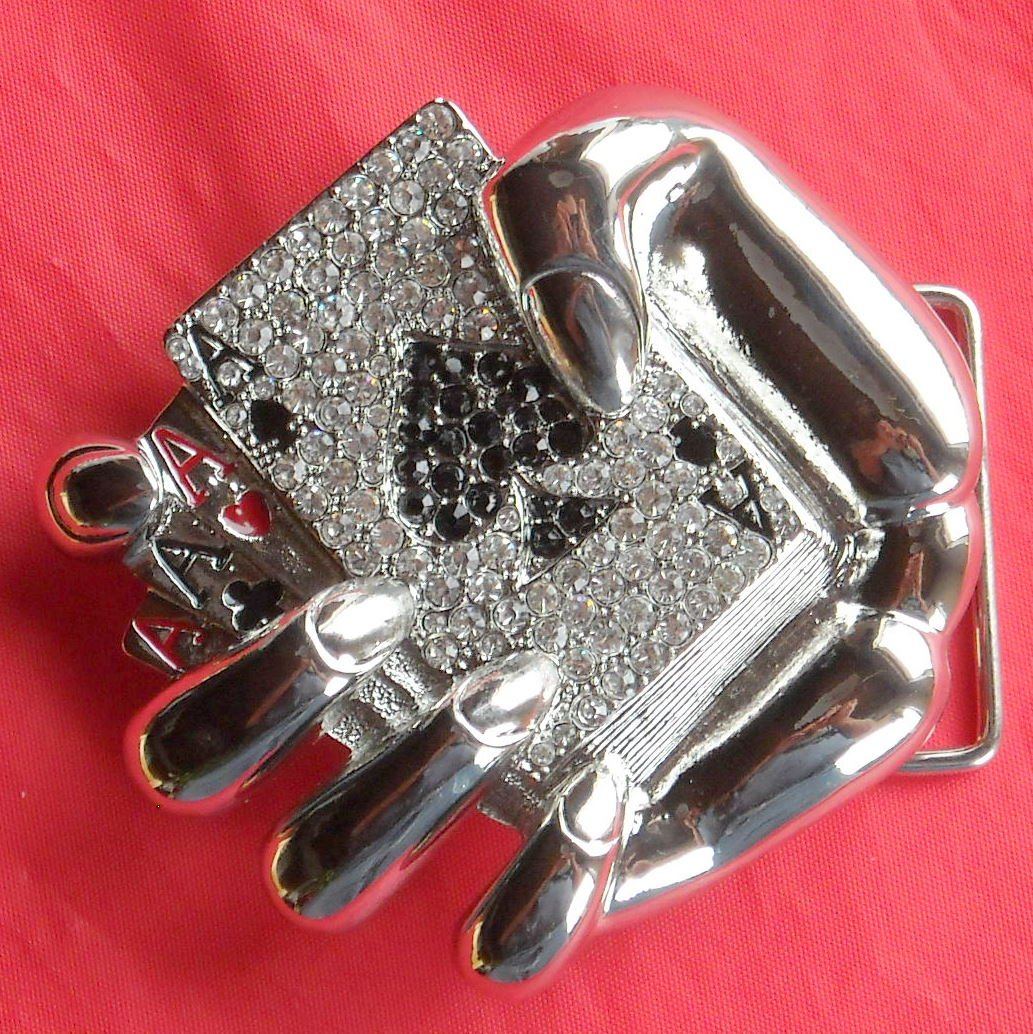 Four Aces in Hand Silver color with Rhinestone metal belt buckle