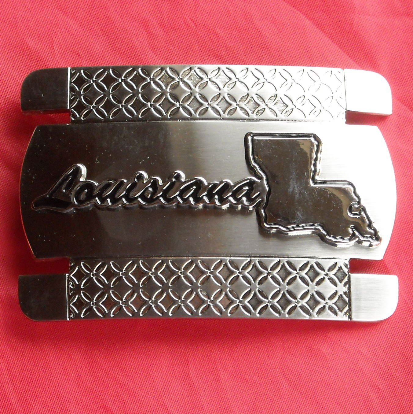 Louisiana Silver Color Metal Belt Buckle