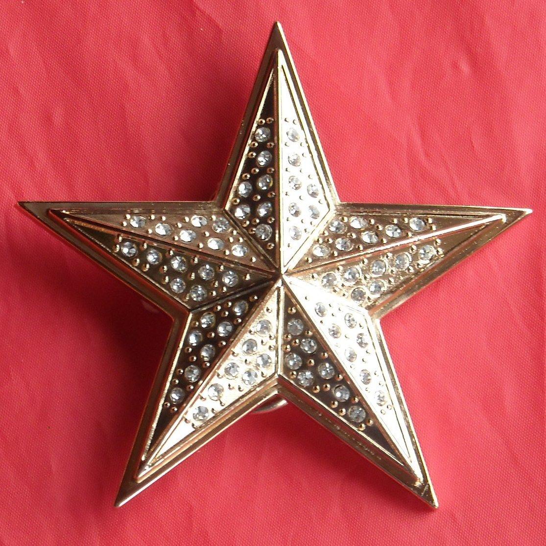 Star Bronze Color With Rhinestone Metal Belt Buckle