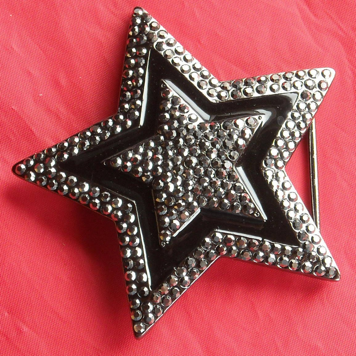 Silver color Star with Rhinestone metal belt buckle
