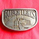 Raleigh Lights Cigarette Trucker Pewter Color Metal Belt Buckle