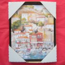 Spanish Village at the Port Framed Kitchen Wall Art Print