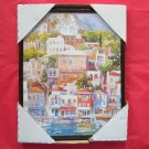French Village at the Port Framed Kitchen Wall Art Print