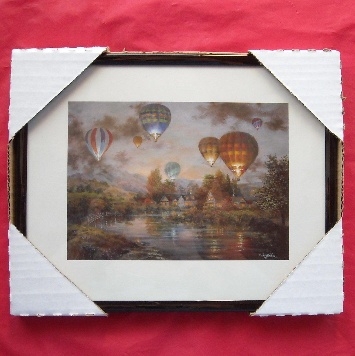 Hot Air Balloons Framed Kitchen Wall Art Print