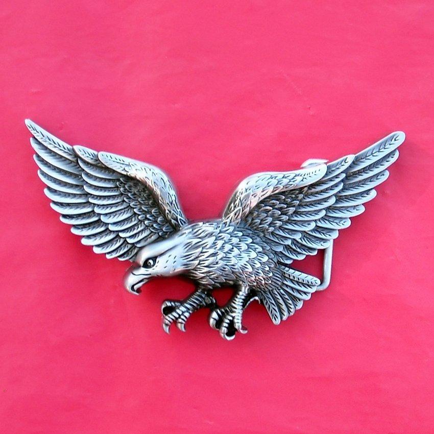 Flying Eagle Pewter Color Belt Buckle