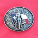 CowGirl Texas Flag Pewter Color Belt Buckle