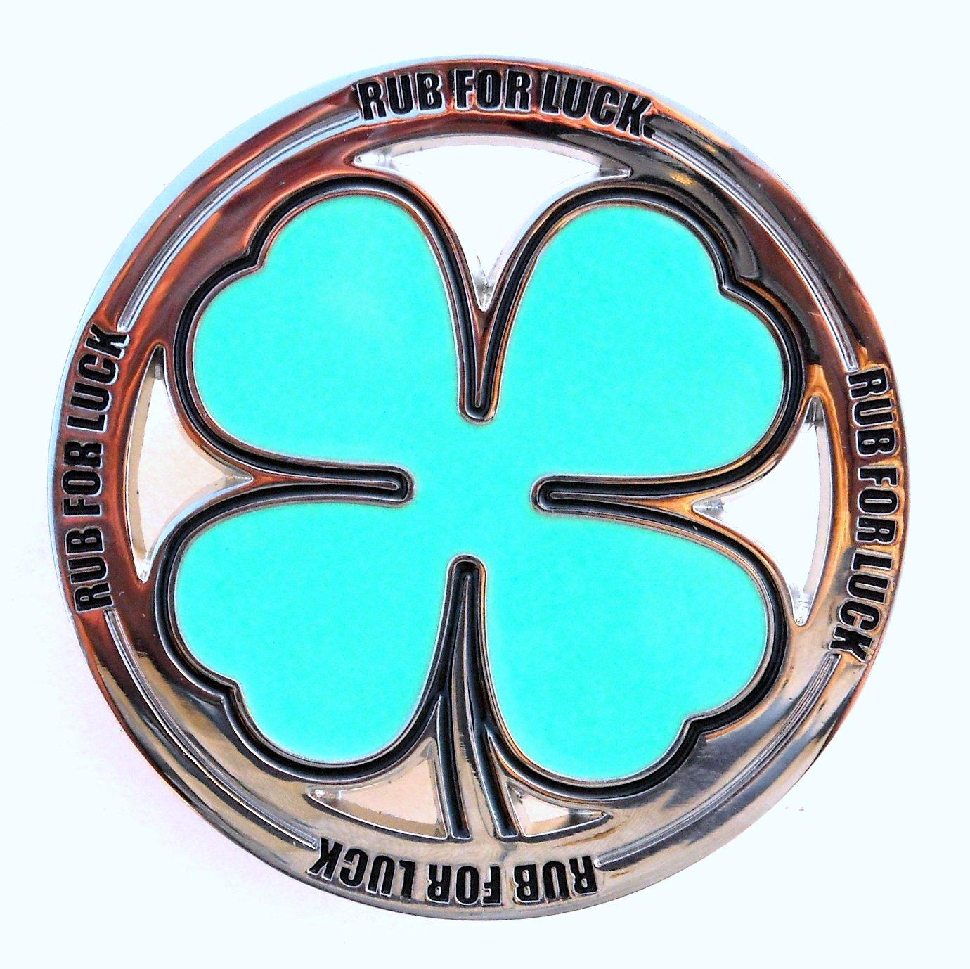 Shamrock Rub For Luck Four Leaf Clover Belt Buckle