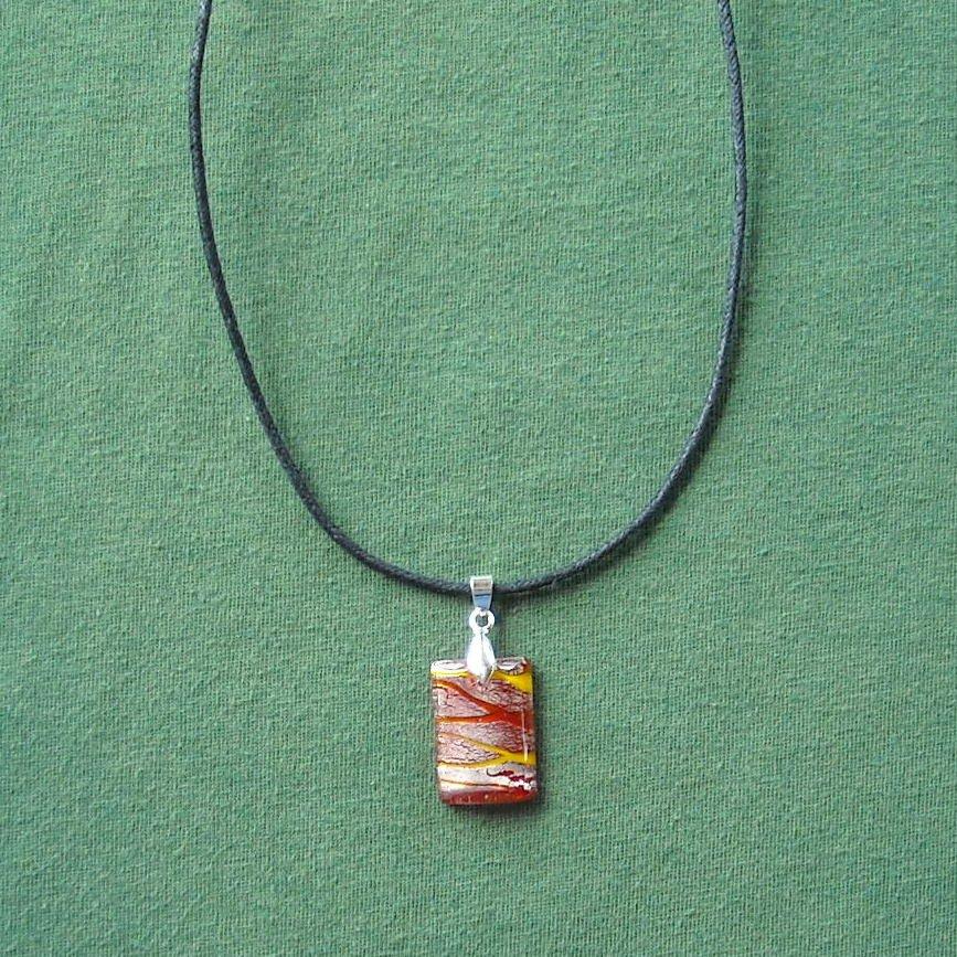 Glass Block Orange Silver Murano Style Pendant Necklace
