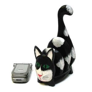 3-Sct Desktop Wood Cat Napkin Note Letter Bill Holder