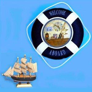 "NU 14"" Nautical Life Ring Shadow Box Clock +PIRATE SHIP"