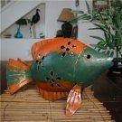 TROPICAL METAL ART FISH SCULPTURE CANDLE LANTERN PATIO
