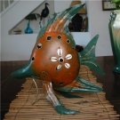 TROPICAL METAL ART FISH CANDLE HOLDER w/Shell PATIO