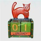 NEW Hand Carving Cat Wooden Perpetual Calendar FREE S/H
