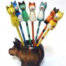 S/7 Hand Carved Hand Painted Wood Cat Pencils FREE S/H