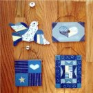 S/4 Quilted Wood Blue & White Wall Door Plaque Sign