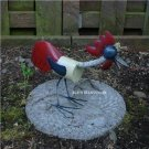 Hand Welded Rustic Metal Rooster Sculpture Garden Decor