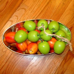 S/2 Hand Carved Solid Wood Hanging APPLE GARLAND Fruit