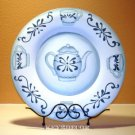 Hand Carved Painted Blue/White Wood Kitchen Plate NEW