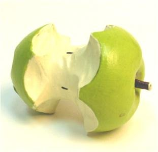 Hand Carved Wood Apple Core Fruit Crafts Decor FREE S/H
