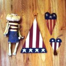 Americana Flag Wood Plaque,Hook, Kitty w/Kite FREE S/H