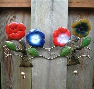 "14"" Hand Painted Hawaii Flower Wall Key Rack Coat Hook"