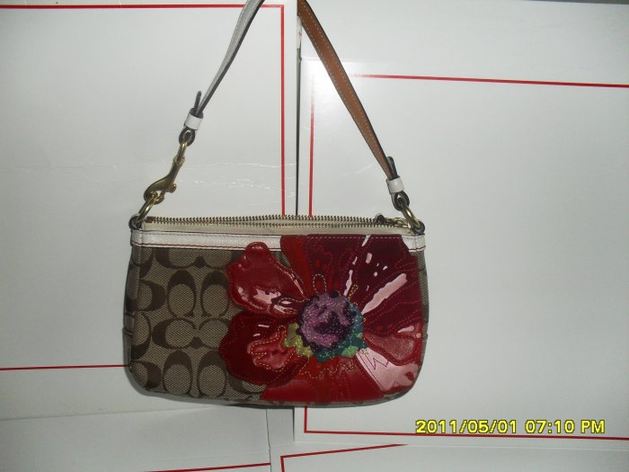 Coach Preowned Small Khaki Signature Fabric with a Flower Hand Bag