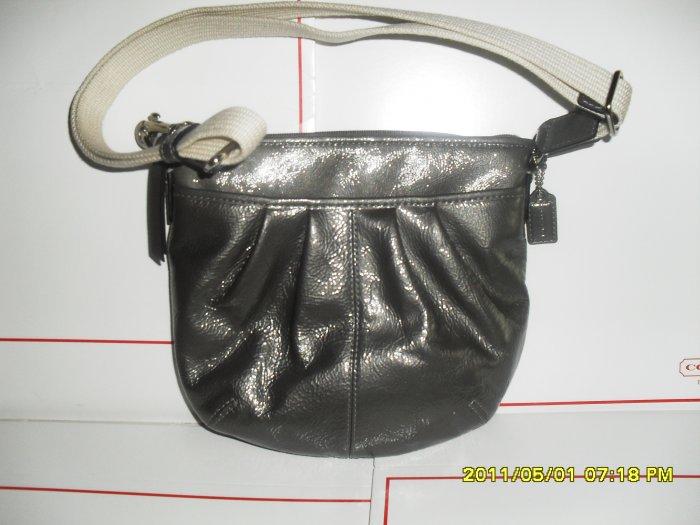 N/W/T Coach Silver Patent Pleater Pocket Adjustable Strap Shoulder Bag #F42834