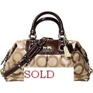 COACH MADISON OP ART SATEEN ALRGE BAG PURSE 12934 retail $398