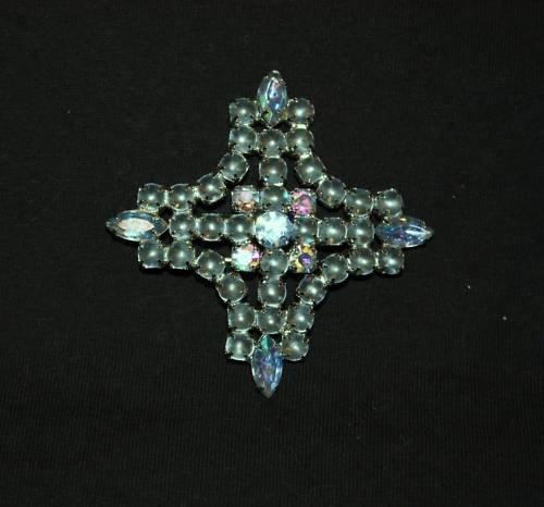 Vintage Brooch Pin Rhinestone Matte Giant blue A B