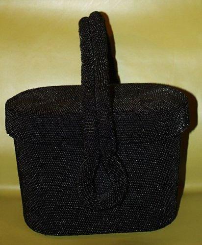 Vintage 1930s 1940s Beaded Black Box Purse