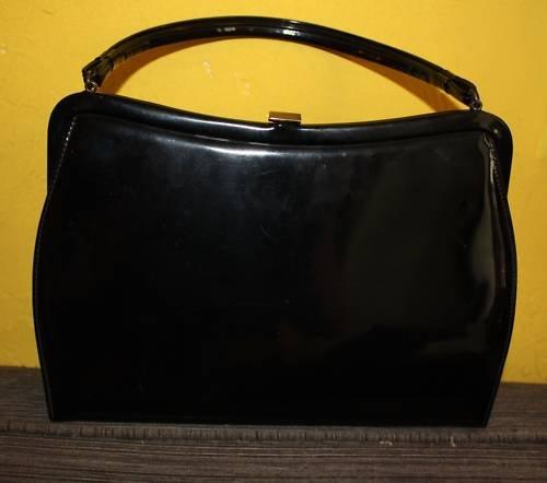 Vintage Purse 1950s 1960s MOD Black Patent Theodor