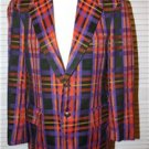 Vintage 60s jacket blazer plaid orange purple black