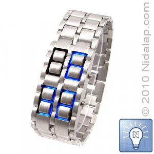 Ice Samurai - Silver Band Blue LED Watch (Free Shipping WITH TRACKING NUMBER!)