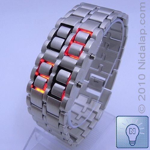 Iron Samurai - Silver Band Red LED Watch (Free Shipping WITH TRACKING NUMBER!)