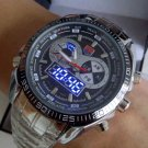 TVG Dual Time (Quartz+LED) Fashion Watch Alarm Perpetual Calendar Water Resistant BONUS 2 BATTERIES!