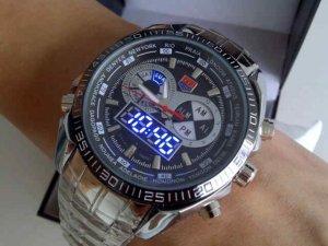 TVG Dual Time (Quartz+LED) Fashion Watch Alarm Perpetual Calendar Water Resistant BONUS 2 BATTERIES!