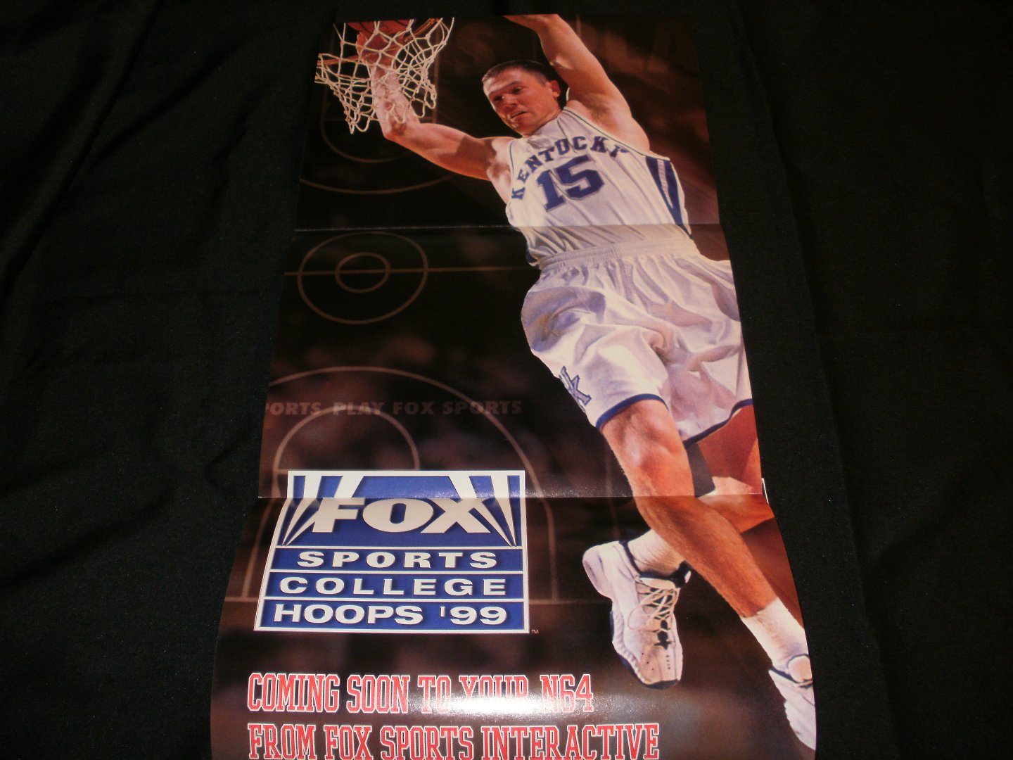 Fox Sports College Hoops '99 Poster - Nintendo Power October, 1998 - Never Used