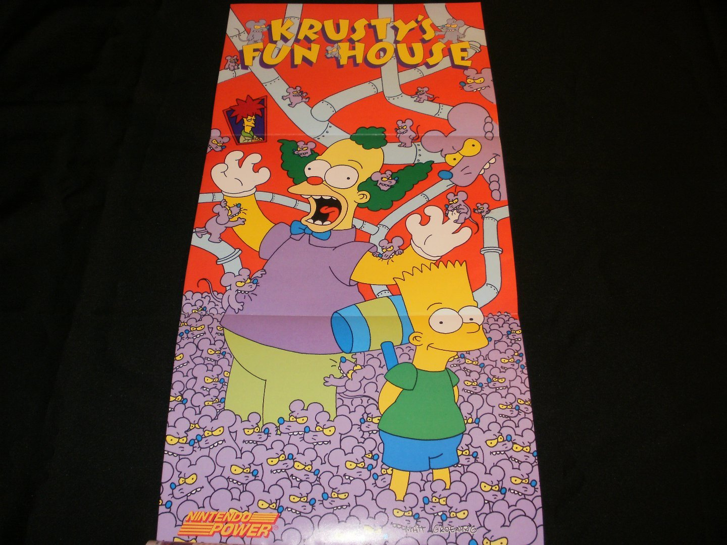 Krusty's Fun House Poster - Nintendo Power May, 1992 - Never Used